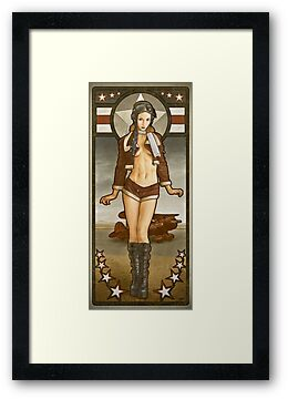 Steampunk Aviation Art Pinup: 'Aviatrix' by ArtNouveau