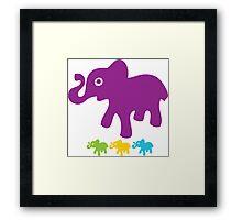 Retro Elephant Print Framed Print
