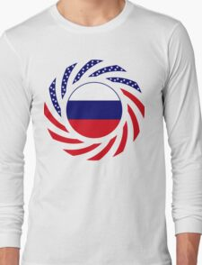 Russian American Multinational Patriot Flag Series Long Sleeve T-Shirt