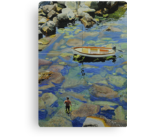 Knee deep in Riomaggiori Harbour Canvas Print