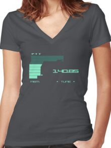 Metal Gear Solid 2 Codec (Green color) Women's Fitted V-Neck T-Shirt