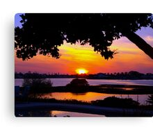 Sunset under two canopies Canvas Print