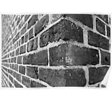 Corner of a Brick Wall [black & white] Poster