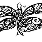 Black and White Doodle - Butterfly by MelDavies