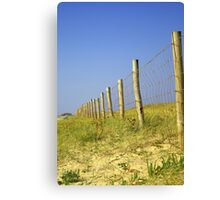 Infinite fence in dunes... Canvas Print
