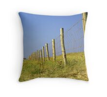 Infinite fence in dunes... Throw Pillow