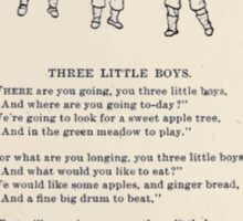 Miniature Under the Window Pictures & Rhymes for Children Kate Greenaway 1880 0028 Three Little Boys Sticker