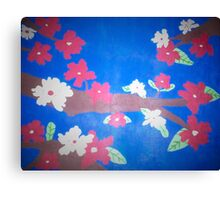Floral in Red, White, and Blue Canvas Print