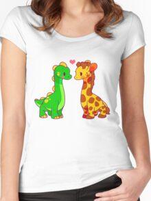 Dinosaur x Giraffe Women's Fitted Scoop T-Shirt