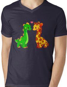 Dinosaur x Giraffe Mens V-Neck T-Shirt