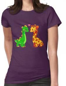 Dinosaur x Giraffe Womens Fitted T-Shirt