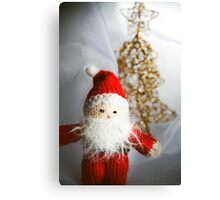 Little knitted Santa loves Christmas Canvas Print