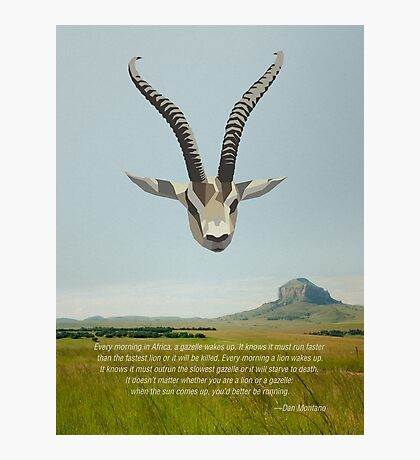 Low-poly Gazelle and Inspirational Quote Photographic Print