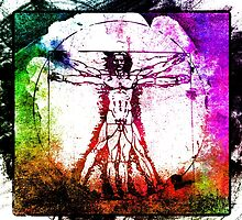 Colorful Grunge Vitruvian Man - Leonardo Da Vinci Tribute Art T Shirt - Stickers by Denis Marsili - DDTK