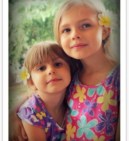 Summer Girls. Frangipanis On Their Hair Sticker