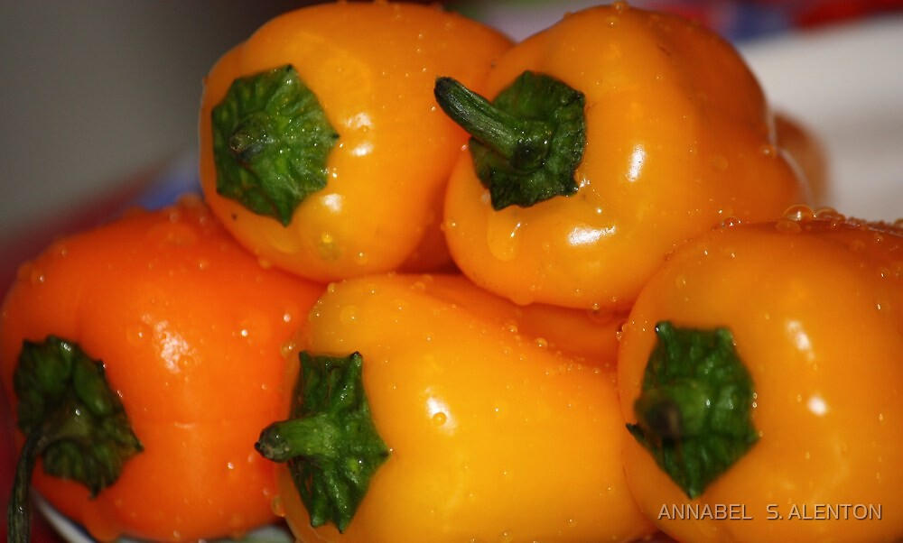 fresh yellow peppers by ANNABEL   S. ALENTON