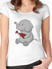 Elephant Loves Her Ukulele  Women's Fitted Scoop T-Shirt
