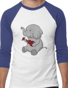 Elephant Loves Her Ukulele  Men's Baseball ¾ T-Shirt