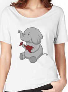 Elephant Loves Her Ukulele  Women's Relaxed Fit T-Shirt