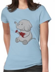 Elephant Loves Her Ukulele  Womens Fitted T-Shirt