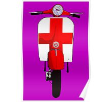 Retro Scooter with St George Cross Decal Poster