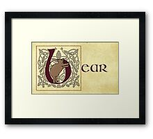 B is for Bear Manuscript Page Framed Print