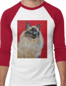Siamese Cat Portrait Men's Baseball ¾ T-Shirt