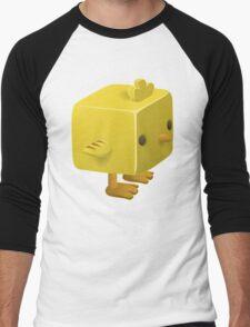 Blocky Baby Chick, Chicken Illustration Men's Baseball ¾ T-Shirt