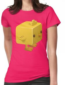 Blocky Baby Chick, Chicken Illustration Womens Fitted T-Shirt