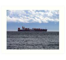 Container Ship off Cordova Bay Art Print