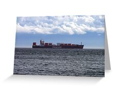 Container Ship off Cordova Bay Greeting Card
