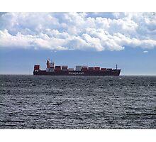Container Ship off Cordova Bay Photographic Print