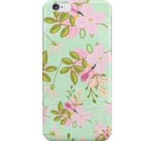 Floral pattern, pink flowers, mint green background iPhone Case/Skin
