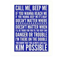 Call me, beep me in white Art Print