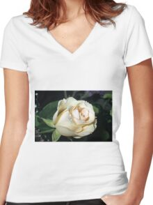 Classy In Cream Women's Fitted V-Neck T-Shirt