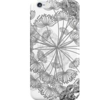 Queen Anne's Lace Floral pattern white grey charcoal iPhone Case/Skin