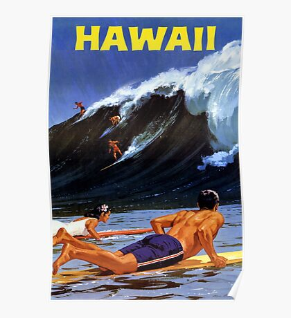 Hawaii Vintage Travel Poster Restored Poster