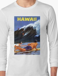 Hawaii Vintage Travel Poster Restored Long Sleeve T-Shirt