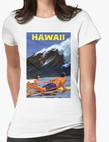 Hawaii Vintage Travel Poster Restored Womens Fitted T-Shirt