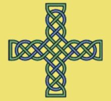 Celtic Cross in Green and Blue Kids Clothes