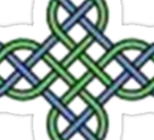 Celtic Cross in Green and Blue Sticker