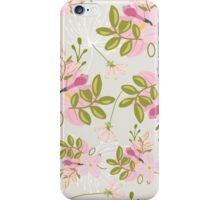 Floral pattern, pink flowers, green leaves, dove grey iPhone Case/Skin