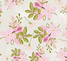 Floral pattern, pink flowers, green leaves, dove grey by Glimmersmith