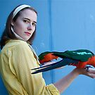 King parrots and retro girl by Philomena
