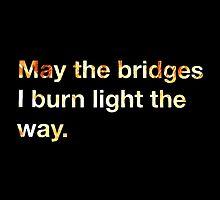 May the Bridges I Burn Light the Way. by Ruby Stewart