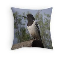 Pied Butcher Bird Throw Pillow