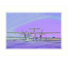 Dash 8 aircraft with soft pastel colours added Art Print