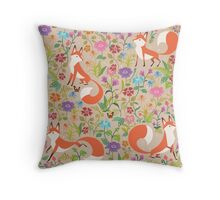 Flower Foxes Throw Pillow