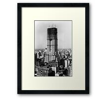 Construction of the Empire State Building - c. 1930 Framed Print