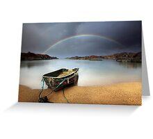 Boat and rainbow - Ardtoe, West Coast of Scotland Greeting Card